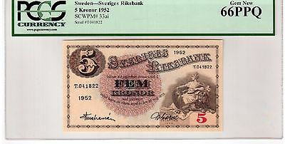 "Sweden 5 Kronor Banknote 1952 Pick# 33ai PCGS Currency GEM UNC 66 PPQ ""Vintage"""