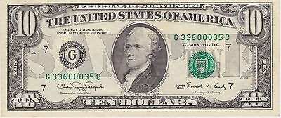 """US Federal Reserve Note Ten Dollar Bill Marked """"SAMPLE"""""""