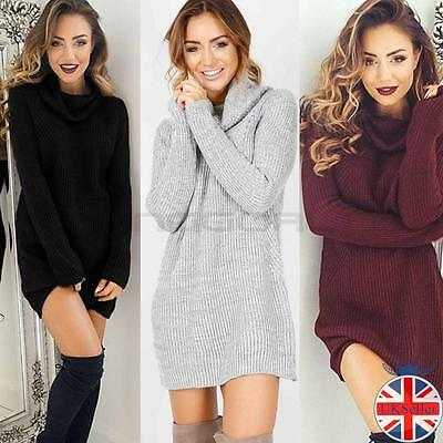 Tricot pull pullover chandail robe femmes manches longues col roulé laine hiver