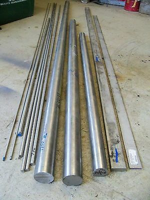 "12 piece assortment of 304 Stainless Steel Round & Flat Bar Stock 3/16"" to 1 3/4"