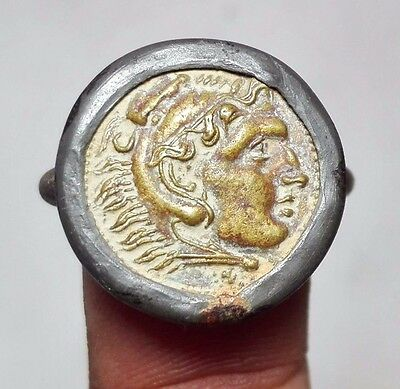 Emperor tiger head ancient old coin bronze ring 8 size