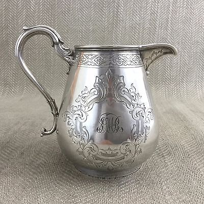 Antique Silver Plated Creamer Jug HAWKSWORTH & EYRE Victorian Aesthetic