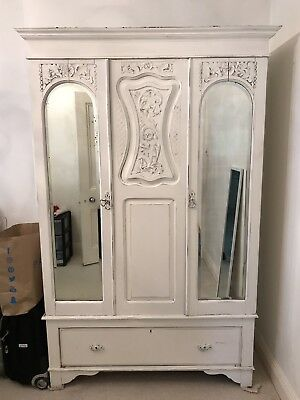French style painted shabby chic armoire with mirrored doors and a drawer