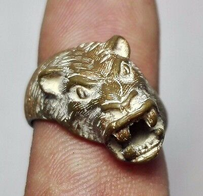 Tiger head ancient old bronze ring 6 size