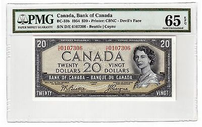 "Canada $20 Dollars Banknote 1954 BC-33b PMG Gem UNC 65 EPQ "" Devil's Face """