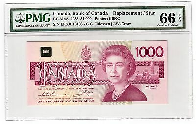 Canada $1000 1988 BC-61aA PMG GEM UNC 66 EPQ Great Embossing Replacement / Star
