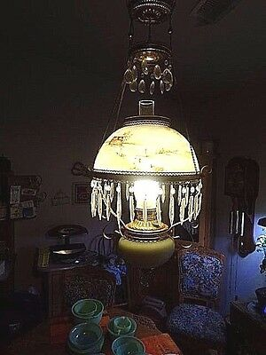 ANTIQUE VICTORIAN HANGING CHANDELIER  PARLOR LIGHT FROM THE 1800s