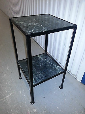 VINTAGE Iron Marble Table side end plant stand book curio reclaimed phone art
