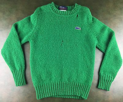 Vintage Youth 60s Green IZOD Lacoste Virgin Wool Kids Sweater Size 10