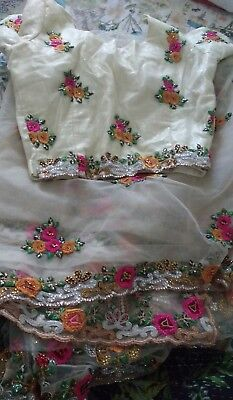 Saree Latest designer blouse bollywod indian wedding Ready Pleated Sari freeP&P