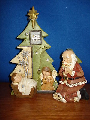 Nativity Kneeling Santa with Baby 6 inches 2 piece 34293