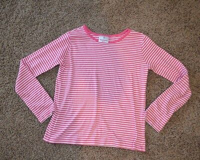 Girls Hanna Andersson Long Sleeve Pink & White Striped Shirt ~ Sz 140 /10