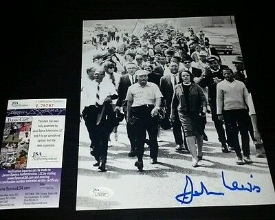 John Lewis Civil Rights Leader Congressman Signed BW 8x10 JSA CERTIFIED