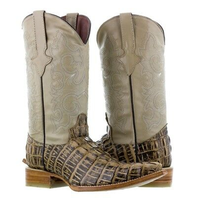 Mens Rustic Sand Alligator Crocodile Tail Leather Western Cowboy Boots Riding