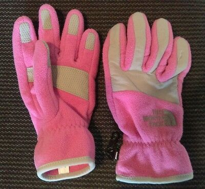 The North Face kids girls gloves size medium pink and grey