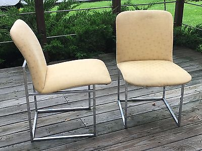 Milo Baughman Style Chrome Dining Chairs ~ Set of 2