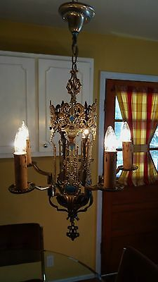Stunning 1930 Art Deco Nouveau Cast Chandelier Ceiling Light Fixture Speakeasy!!