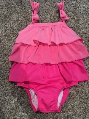 NWT Gymboree Girls Pink Ruffle Tier Bow Bathing Suit / Swimsuit NEW 2t