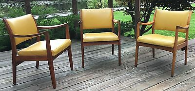 Set of 3 Mid-Century Walnut Armchairs Dining Johnson Chair Company Chicago, IL