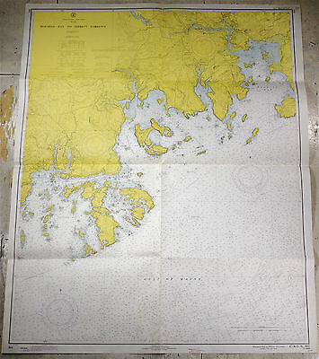 Vintage 1970 Nautical Chart 304 Machias Bay to Tibbett Narrows MAINE Maritime