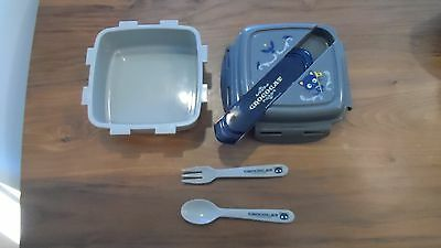 Chococat Sanrio gray lunch bento box container with fork spoon