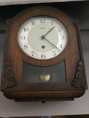 Old Bentima Wall Clock Wooden Carved Case British Made Lovely Shape