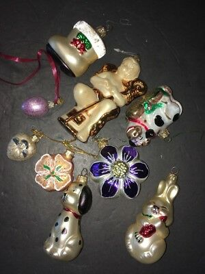 Lot - 9 Christmas Glass Ornaments Assorted - Old World