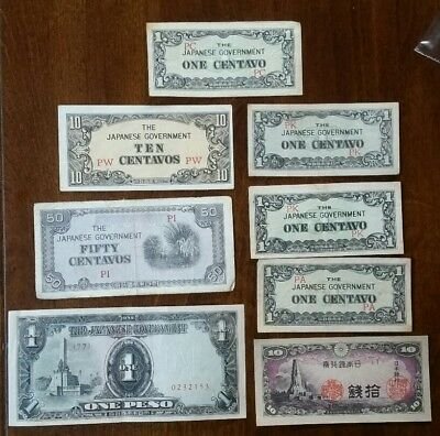 Japanese Currency 50 10 Centavos 1 peso notes lot