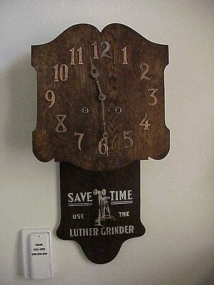 Antique Luther Grinder Advertising Mission Style Clock