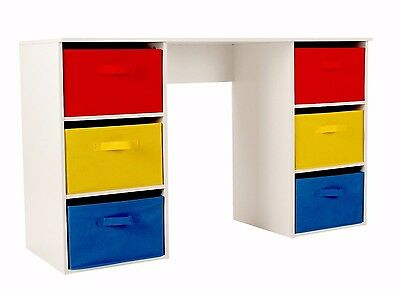 Kids Study Desk 6 Storage Canvas Boxes Drawers Drawing Table Children Furniture