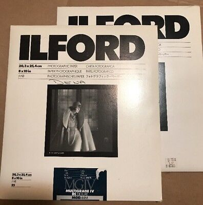Ilford MGIV Multigrade IV RC Deluxe 8x10 B&W Pearl Photographic Paper + Partial