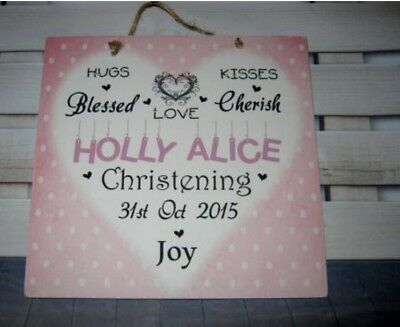 Handmade Wall Plaque Sign  Personalised Christening Gift. Baby Girl.