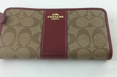 New Authentic Coach F54630 Accordion Zip-Around Wallet PVC Brown Hot Pink