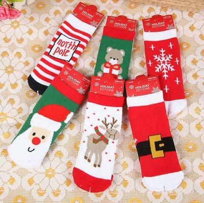 Baby Kids Christmas gift Warm Slipper Cartoon Thick Terry Socks Size S 1-3years