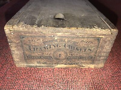 Antique Wood Crate With Paper Label Advertising Framing Chisels