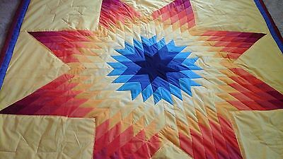 Multicolored star authentic Sioux native american star quilt  Yellow