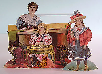 THE MUSIC ROOM ~ RARE Lion Coffee 4 Piece Trade Card Color Litho Paper Dolls
