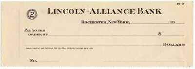 19-- Unissued Check, LINCOLN-ALLIANCE BANK, Rochester, New York