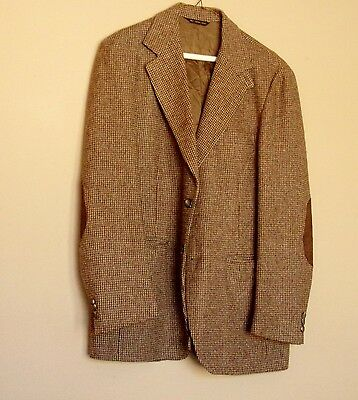 Mens Tweed Jacket by Farah, 40 Reg, Leather Elbow Patches