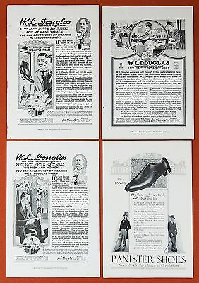 Banister Douglas SHOES ~ 4 Vtg Orig. Magazine Print Ad ~ Early 1900s
