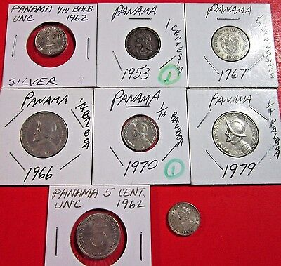 Panama. Vintage Lot Of 8 Different Coins. 1 Is Silver. See Pics.