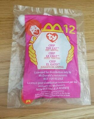 1999 McDonald's Ty Beanie Babies  #12 Chip the Cat Happy Meal Toy Mint in Bag!