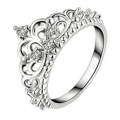 925  Sterling Silver Plated  Rhinestone Crown  Ring For Women Various Sizes