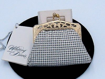 Whiting And Davis White Mesh Coin Purse With Original Tag #2962