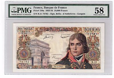 France 10000 Francs Banknote 1956 Pick# 136a PMG Choice About UNC 58