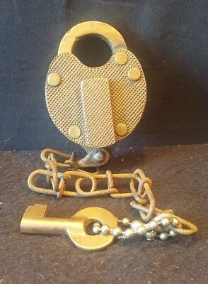 Vintage Train Lock With Key Works Excellent Condition