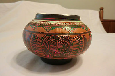 Navajo Southwest Etched Painted Pottery-Signed