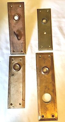 Lot of Four Antique/Vintage Brass and/or Copper Door Knob Plates