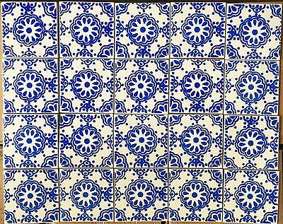 20 Mexican lace, border tiles,wall tiles,mosaic,blue on white