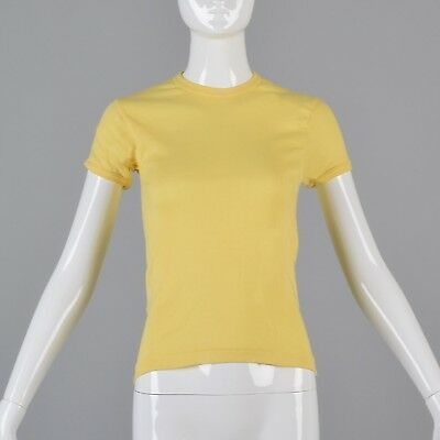 XS/S Vintage 1970s 70s T-Shirt Boho Yellow Baby Doll Short Sleeve Deadstock Tee